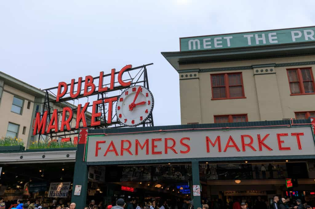 pike place market et farmers market i seattle washington