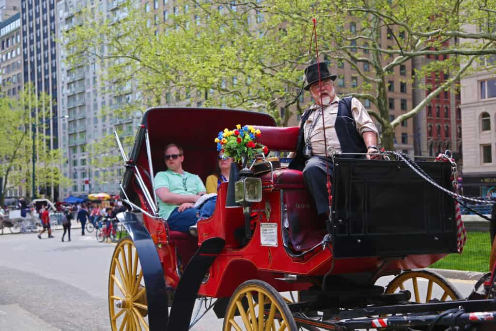 turister bliver kørt rundt i en hestretrukket karet i central park i new york